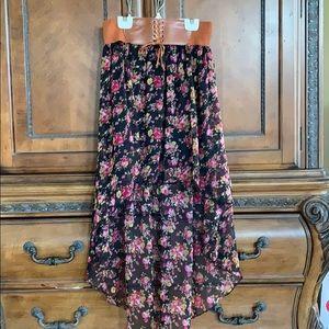 Bohemian style asymmetrical flowy skirt - size L